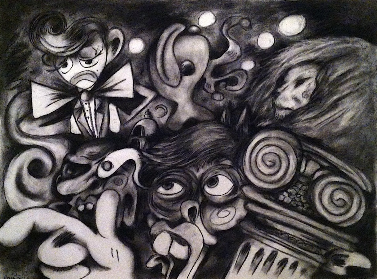 Midnight - charcoal on paper - 24x18 - 2014