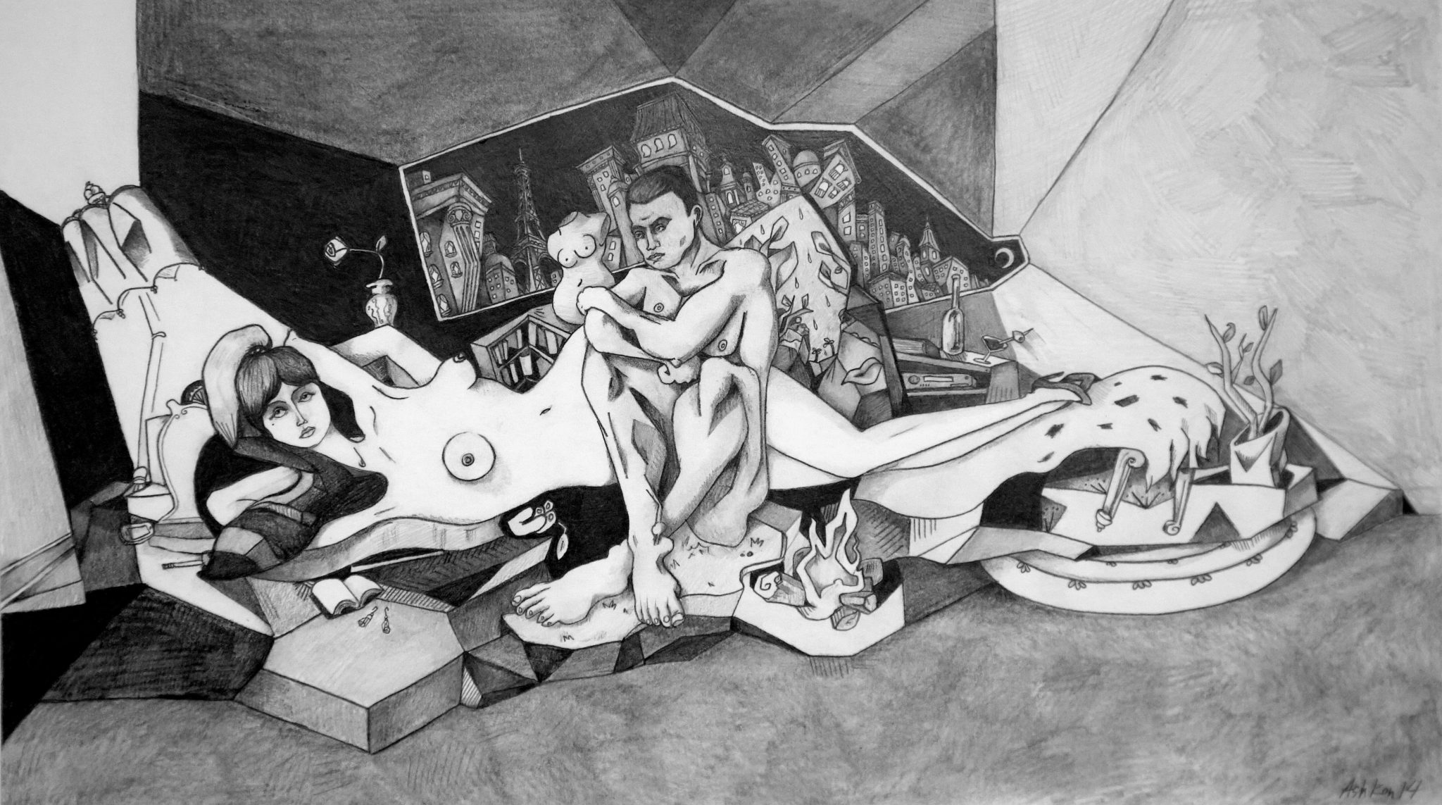 The Caveman and the Parisian Woman - Pencil on Paper - 30 x 12 - 2014 - Sold